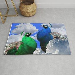 GREEN PEACOCK & BLUE PEACOCK CLOUDS MODERN ART Rug