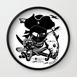 Octopus v Florida Pirate Wall Clock