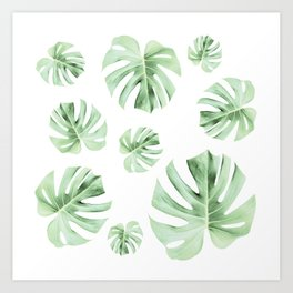 Tropical green leaves on white Art Print