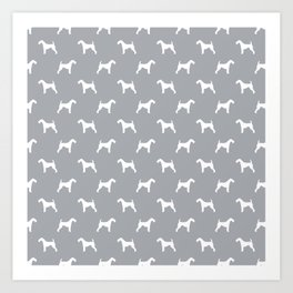 Airedale Terrier grey and white minimal dog pattern dog silhouette pattern Art Print