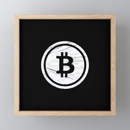Vintage Bitcoin Grunge Cryptocurrency Framed Mini Art Print