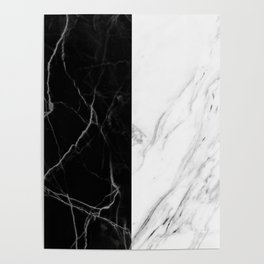 black and white marble Poster