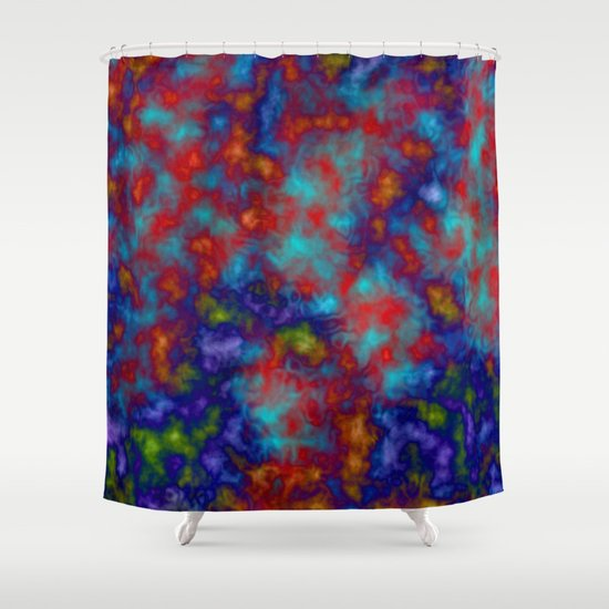 Abstract Blue And Red Fancy Design With Yellow Orange Traces Shower Curtain By Anka Society6