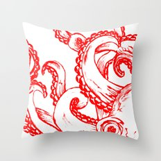 Octopus - Red and White Throw Pillow