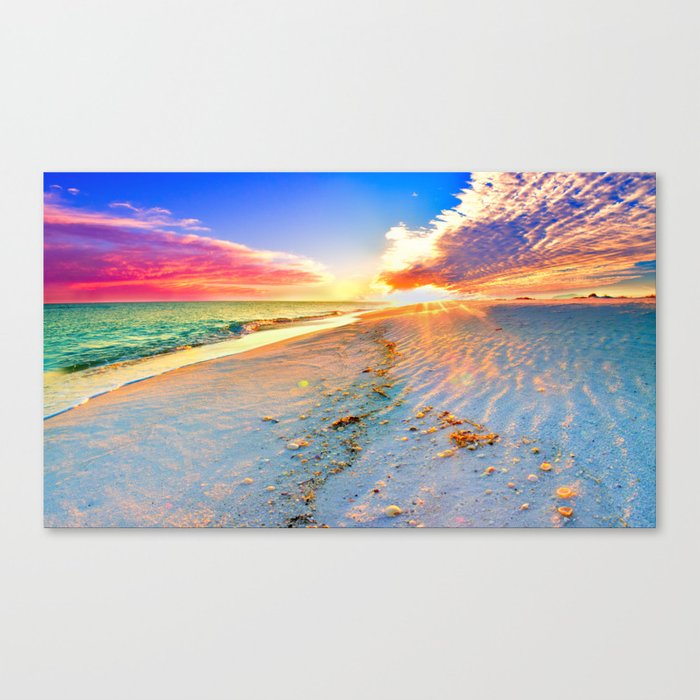 Beach Themed Wall Art Print Sunset Landscape Pink Canvas Print By Sunset Prints Society6