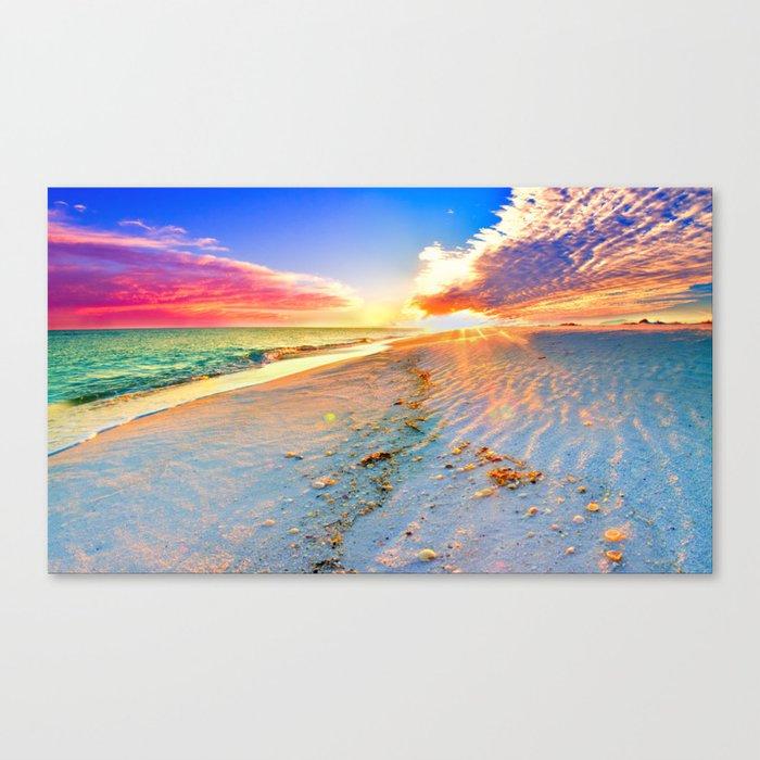Beach Themed Wall Art Print Sunset Landscape Pink Canvas
