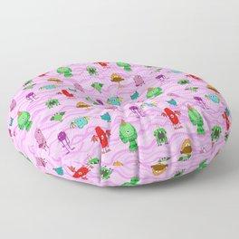 pink wave monster pattern, cute joyful,red green,purple,creatures funny Floor Pillow