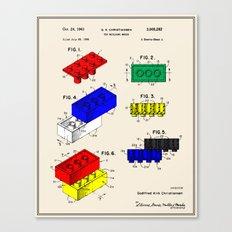 Lego Building Brick Patent - Colour Canvas Print