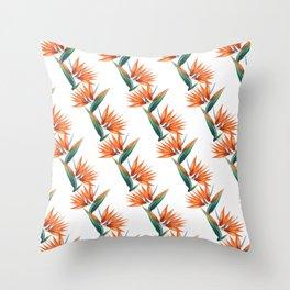 Bird of paradise, strelitzia exotic flower Throw Pillow