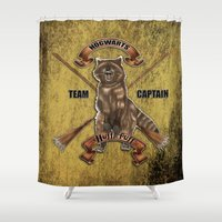 hufflepuff Shower Curtains featuring Hufflepuff  Hogwarts Team Captain by JanaProject