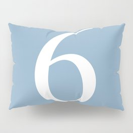 number six sign on placid blue color background Pillow Sham