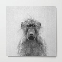 Baboon - Black & White Metal Print