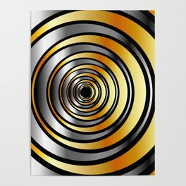Concentric metallic rings in gold and silver-metallic texture artwork Poster
