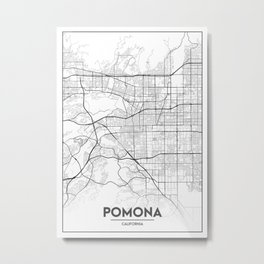 Minimal City Maps - Map Of Pomona, California, United States Metal Print
