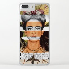 """Frida Kahlo """"Self Portrait with Thorn Necklace and Hummingbird"""" & Joan Crawford Clear iPhone Case"""