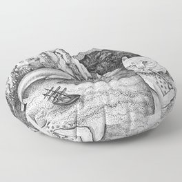 The Whale, The Castle & The Smoking Cat Floor Pillow