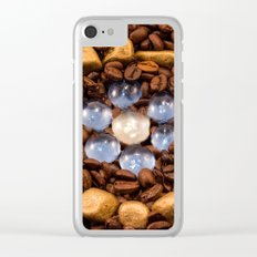 Coffee in the gold circle Clear iPhone Case