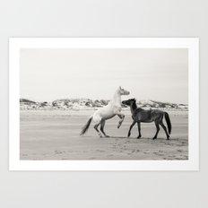 Wild Horses 5 - Black and White Art Print