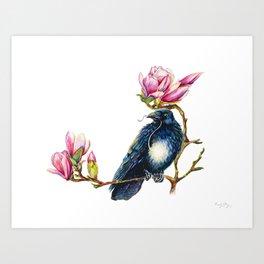 Raven and Magnolia Art Print