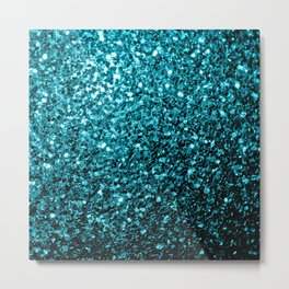 Beautiful Aqua blue glitter sparkles Metal Print