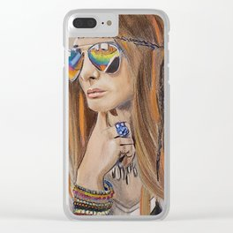 Boho Chic Hippy Queen - Colorful Clear iPhone Case
