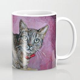Brown Tabby Cat sitting on Music Box Coffee Mug