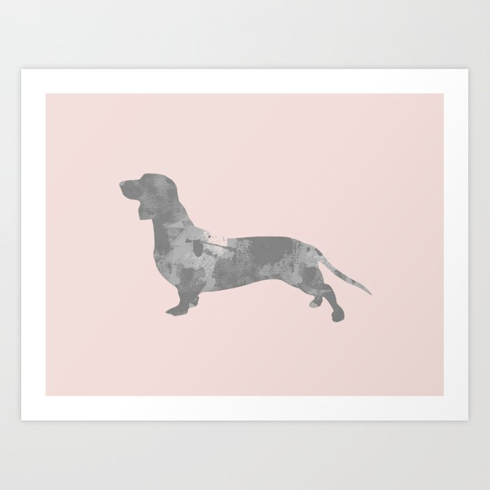 Dachshund pink and black Art Print