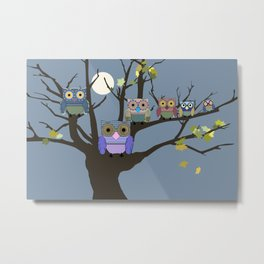 Owl Family Tree Metal Print