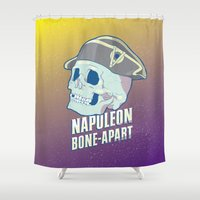 napoleon Shower Curtains featuring Skullture: Napoleon Bone-Apart by El Ojo de Chupacabra