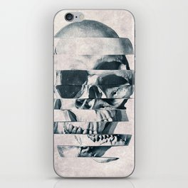 Glitch Skull Mono iPhone Skin