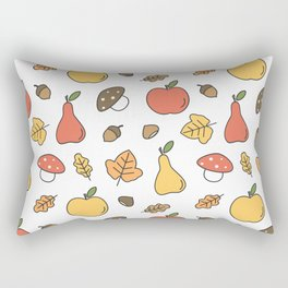 cute colorful autumn fall pattern with pears, apples, leaves, acorns, chestnuts and mushrooms Rectangular Pillow