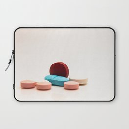 Numerous medicines Medications in the form of tablets. Colored pills on a white background. Laptop Sleeve