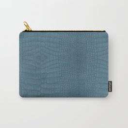 Turquoise Alligator Leather Print Carry-All Pouch