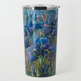 Countryside Irises Oil painting with palette knife Travel Mug