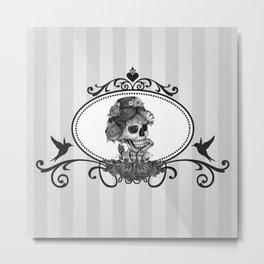 Miss Annie Skeleton Cameo Metal Print