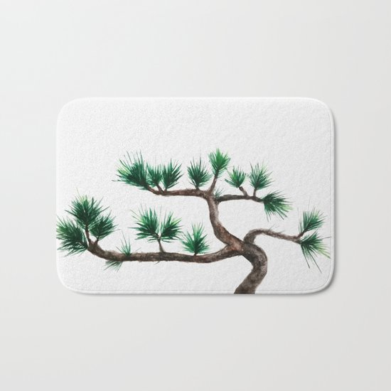 green pine tree painting Bath Mat