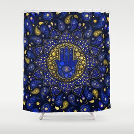 Hamsa Hand -Hand of Fatima Dot Art Lapis Lazuli and gold Shower Curtain
