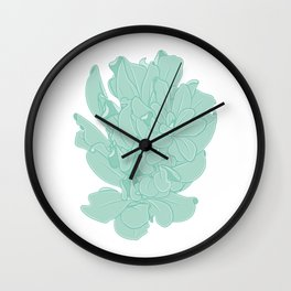 Coiled Leaves Vector Illustration Wall Clock