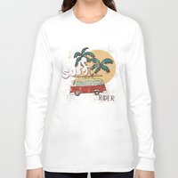 surfing Long Sleeve T-shirts featuring Surfing by Julia