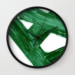 Emerald Crossroads, minimalistic emerald green and white, abstract lines, alcohol ink art, watercolor style Wall Clock