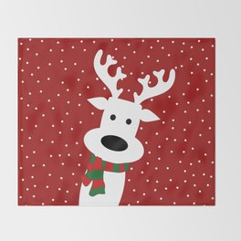 Reindeer in a snowy day (red) Throw Blanket