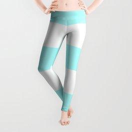 Wide Horizontal Stripes - White and Celeste Cyan Leggings