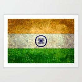 Flag of India - Retro Style Vintage version Art Print