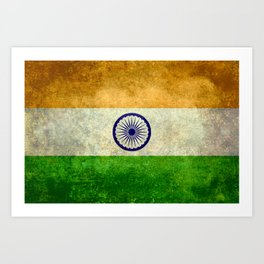 Flag of India - Grungy Vintage Art Print