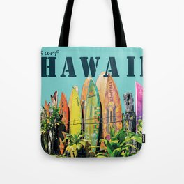 Hawaiian Surfboard Postcard Print Tote Bag