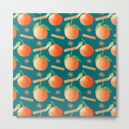 Tangerines,Cinnamon and Star Anise Watercolor Illustration and Pattern, Teal Background  Metal Print