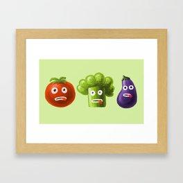Funny Cartoon Vegetables Framed Art Print