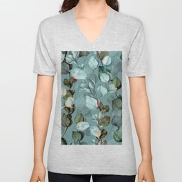 eucalyptus branches leave watercolour hand drawn illustration seamless floral vintage pattern Unisex V-Neck