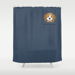Beagle in a Pocket Shower Curtain