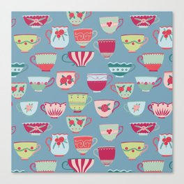 China Teacups on Teal Canvas Print